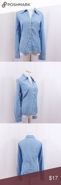 """Striped Button Down Shirt from Dressbarn Nice button down dress shirt from Dressbarn. Blue with black stripes. In good shape, but there are a couple small stains. Please ask for pics if I forget to add them. Size Large. Bust 21""""; Length 25"""". Waist 40"""". Feel free to ask questions. Dress Barn Tops Button Down Shirts"""