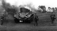 Soviet BT-5 Light Tanks on fire 1941