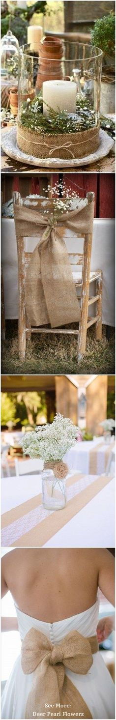Rustic Wedding 55 Chic-Rustic Burlap and Lace Wedding Ideas  / http://www.deerpearlflowers.com/50-chic-rustic-burlap-and-lace-wedding-ideas/