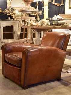 French Vintage Leather Club Chair 1950 S