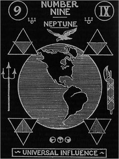 Antique illustration of numbers 1 to 9 and their Ruling Planets.
