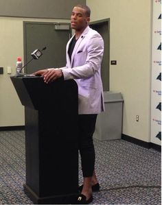 Cam Newton Stuns In Questionable Outfit At Press Conference-What do you think? Fashionable or not even?