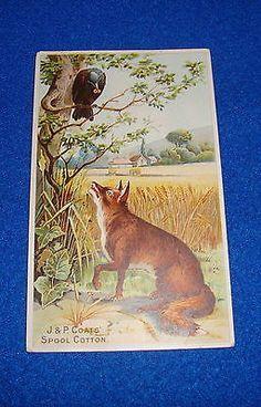Vintage Fox & Crow Advertising Trade Card J. & P. Coats Six Cord Thread