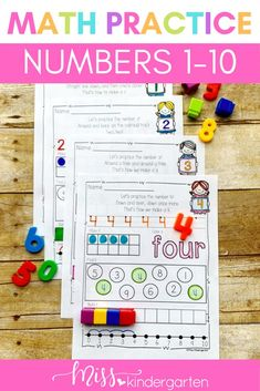 Help your students learn they early math skills with these fun worksheets! Students practice writing, counting and making numbers 1-10 in a variety of different ways. Kindergarten students will love using these in their math centers or first thing in the morning for morning work. They are easy to download and print! Number Writing Practice, Teaching Numbers, Writing Numbers, Letters And Numbers, Fun Worksheets, Kindergarten Worksheets, Math Skills, Math Lessons, Number Sense Activities