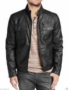 Blesky Mens Stylish Outwear Lightweight Faux Leather Jacket