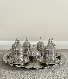 Coffee Gift Sets, Coffee Gifts, Coffee Set, Turkish Coffee, Silver Color, Espresso, Retro Vintage, How To Apply, Floral