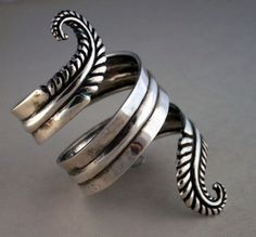 Cuff Bracelet | Los Castillo. Sterling silver. 1950s. Mexico. // I don't normally pin jewelry on here, but I LOVE this!