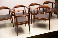 "Hans Wegner, Set of Eight ""Round Back Chairs"" in Teak with Gray Alpaca Seats 2"