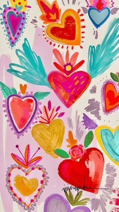 Home - Cherbear Creative Cute Wallpapers, Wallpaper Backgrounds, Wall Wallpaper, Iphone Wallpapers, Illustration Art, Illustrations, Mexican Art, Heart Art, Pattern Wallpaper
