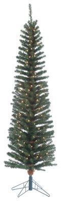 Sterling 6.5' Pre-Lit Narrow Pencil Fir Artificial Christmas Tree with Clear Lights