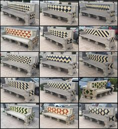 Half square triangle decorated benches in Sitges, Spain.