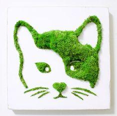 SK_Cat Moss Frame Moss Art Wall Decor Vertical Garden | Etsy Moss Wall Art, Moss Art, Wall Art Decor, Garden Deco, Garden Art, Black Pergola, Vertical Garden Wall, Deco Floral, Art Floral