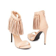 Privileged Fringed Ankle Cuff Dress Sandals