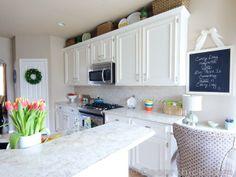 [ White Kitchen Cabinets Decorchick Kitchen Kitchens White Cabinets Beautiful Kitchens White ] - Best Free Home Design Idea & Inspiration Painting Kitchen Cabinets White, Kitchen Paint, White Cabinets, Kitchen Decor, Kitchen Ideas, Inside Cabinets, Kitchen Colour Schemes, White Laminate, Cuisines Design