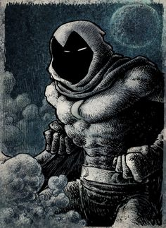 Moon Knight by Xurxo G. Marvel Comic Books, Marvel Comics, Marvel Moon Knight, Graphic Artwork, Batman, Deviantart, Superhero, Illustration, Fictional Characters