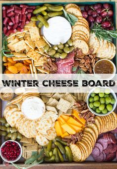 The perfect addition to any winter holiday party is a cheese board! Full of fruits meats cheeses nuts and olives it is perfect for satisfying all your guests at the same time! Snacks Für Party, Appetizers For Party, Appetizer Recipes, Meat Appetizers, Food Platters, Cheese Platters, Party Platters, Meat And Cheese Tray, Cheese And Cracker Tray