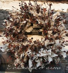 RAG & BERRY WREATH W/ RUSTY STARS - ECHINACEA FARMS