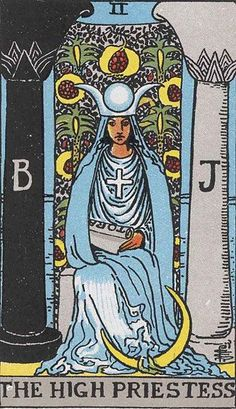 Tarot -The Ice Lady rules. She guards the temple of wisdom. All knowledge that ever was and ever will be is contained in the temple. She guards the wisdom, that only the child can access. B for Boaz (water and earth), J for Jachin (fire and spirit).