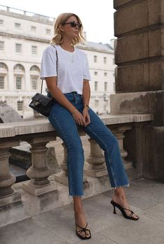 Topshop black knot sandals: white T-shirt and jeans and Chanel bag