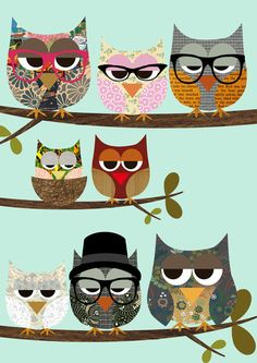 Nerd Owls - Me and my friends collage poster print Art Print, by Claudia Schoen