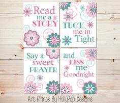 Nursery Wall Decor-Baby Girl Nursery-Pink Teal Nursery Art-Read Me A Story Tuck Me in Tight-Modern Floral Nursery-Nursery Rhyme Quote-#0732