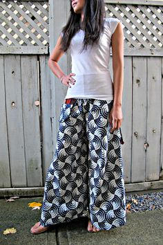 New Indigo Design Zen Print Wide Leg Pants by Siamurai on Etsy #leggings #trousers #comfypants