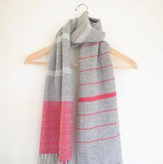 Handwoven shawl scarf merino cashmere cotton heather grey, fuschia pink, cream white. $100.00, via Etsy.