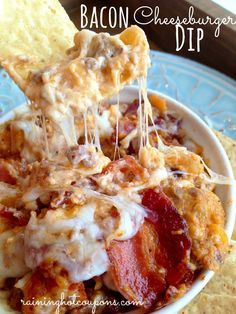 Bacon Double Cheese Burger Dip  : closetcooking --- pp:  This dip is ADDICTIVE!!!