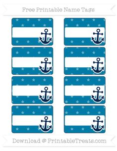 Free Cerulean Blue Star Pattern  Nautical Name Tags