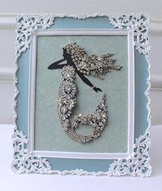 Your place to buy and sell all things handmade - Gorgeous Sparking Mermaid! This one of a kind lady was created using vintage rhinestone crystal bit - Costume Jewelry Crafts, Vintage Jewelry Crafts, Vintage Jewellery, Jewelry Frames, Jewelry Tree, Diy Jewelry, Jewelry Design, Mermaid Jewelry, Mermaid Art