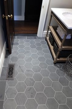 black flooring Inspiring baths -- Brazil Black 8 Hexagon Floor, at The Tilery: Your New England and Cape Cod Tile Experts Bath Tiles, Bathroom Floor Tiles, Laundry In Bathroom, Small Bathroom, Master Bathroom, Entryway Tile Floor, Cape Cod Bathroom, Bathroom Caulk, Bathroom Ideas