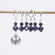 Knitting Stitch Markers Set of 6 or 10 Size MEDIUM for up to Size 10 Knitting Needles Purple Glass with Scottish Thistle Charm