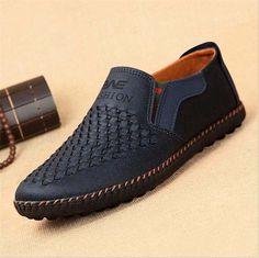 4ccc094a1eb Barato 2017 Verão Respirável Sapatos de Malha Homens Sapatos Casuais  Deslizamento de Couro Genuíno Em Sapatos