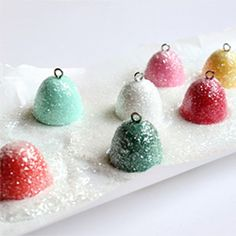 Sweet and glittery gumdrop ornaments you can make from plaster and craft paint!