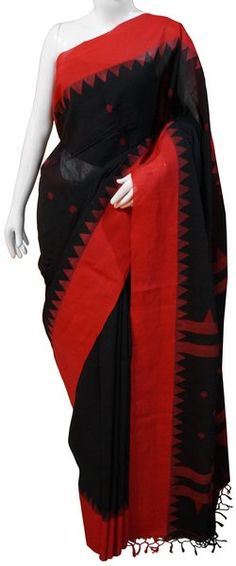 Bengal Cotton Handloom Black & Red Saree with Blouse