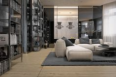 The sofa, for instance, is that same plush design but the room is a bit warmer since the upholstery is a soft cream color.