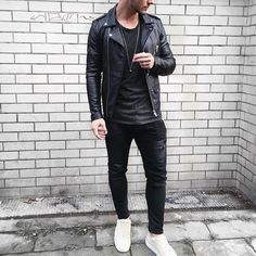 Black #leatherjacket distressed jeans and tan #sneakers by @louisdarcis [ http://ift.tt/1f8LY65 ]