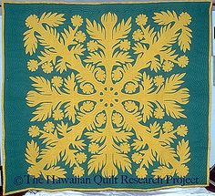 """Top By: Elizabeth Dumlin & Virgie Kahae.  Quilted By: Elizabeth Dumlin. Period: 1950-1975. Location Made: Maui Island, Hawaii (HI) US. Project Name: Hawaiian Quilt Research Project. 101"""" x 90"""""""