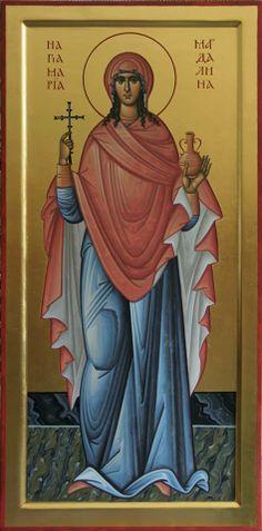 Saint Maria Magdalena, equal to Apostles. Religious Images, Religious Icons, Religious Art, Byzantine Icons, Byzantine Art, Catholic Art, Catholic Saints, Writing Icon, Maria Magdalena