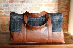 Grainline's Portside duffel bag - in cloth-backed home decor leather-look vinyl and wool coating, by four square walls
