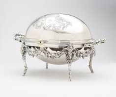 Second half century, Sheffield, mark of William Wheatcroft Harrison, the oval body with revolving cover enclosin. on Mar 2013 Vintage China, Vintage Silver, Antique Silver, Coffee Shop Signs, Dining Ware, Serving Dishes, Entree Dishes, Argent Sterling, Silver Stars