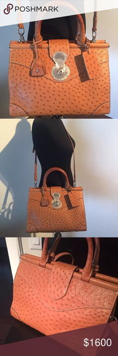 Ralph Laurent 100% authentic Ricky Bag 100% Authentic Ralph Laurent Ricky Bag. Ostrich skin. Brand new bag,still have plastic on the metal closer in front. Medium size Ralph Lauren Bags Shoulder Bags