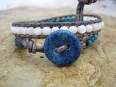 Bohemian Leather Wrap Bracelet River Shell Blue and White Double Wrap Bead Wrap