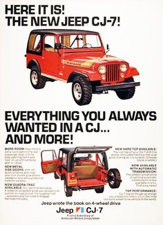 1976 Jeep CJ-7 original vintage advertisement. Outfitted in Renegade trim level. Everything you always wanted in a CJ and mroe! Features metal side doors, new Quadra-Trac 4 wheel drive, hard top, and optional automatic transmission.
