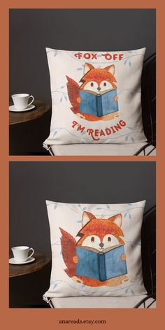 """Adopt Suzy the Fox into your home and let her be your reading companion. She will even help you keep those pesky """"what are you reading"""" people away. This throw pillow is made from moisture-wicking polyester that has a high-end linen feel to it. Handmade Home, Reading Room Decor, When Life Gets Tough, Free Poster Printables, Fox Pillow, Gifts For Librarians, How To Read People, Book Lovers Gifts, Simple Designs"""