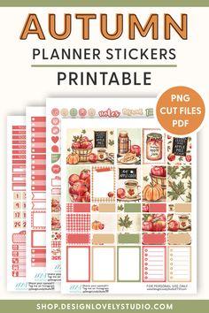 Weekly Planner Printable, Printable Planner Stickers, Printables, Planner Tips, Happy Planner, Apple Stickers, Erin Condren Life Planner, Apple Harvest, Planners