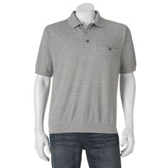 Big & Tall Safe Harbor Classic-Fit Banded-Bottom Polo, Grey