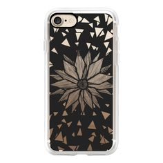 Black Linear Abstract Triangle Floral Transparent - iPhone 7 Case,... ($50) ❤ liked on Polyvore featuring accessories, tech accessories, iphone case, iphone cover case, floral iphone case, apple iphone case, transparent iphone case and iphone cases