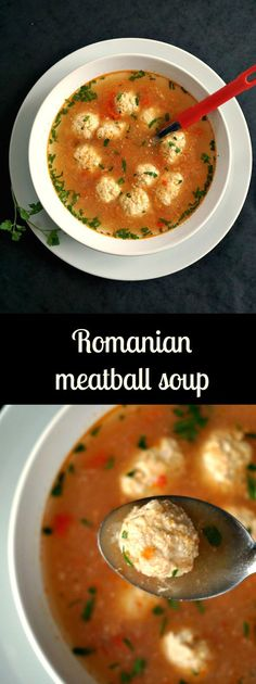 """Romanian meatball soup, or """"ciorba de perisoare"""", truly a classic and most certainly a much loved soup. Simple, and tasty, the best comfort food. Turkish Recipes, Mexican Food Recipes, Soup Recipes, Vegetarian Recipes, Cooking Recipes, Healthy Recipes, Ethnic Recipes, Romanian Recipes, Scottish Recipes"""