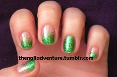Green Glitter Gradient - Nail Art Gallery by www.nailsmag.com #nailart